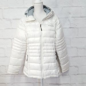 Columbia Women's Hooded White Puffer Jacket L